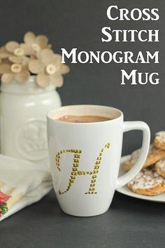 DecoArt Blog - Project - Cross Stitch Monogram Mug