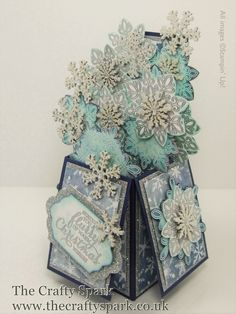 Flurry of Wishes Card-In-A-Box Tutorial Stampin Up Christmas snowflakes. This looks incredible. And super time consuming. Boxed Christmas Cards, Homemade Christmas Cards, Stampin Up Christmas, Xmas Cards, Holiday Cards, Homemade Cards, Christmas Wishes, Pop Up Box Cards, 3d Cards