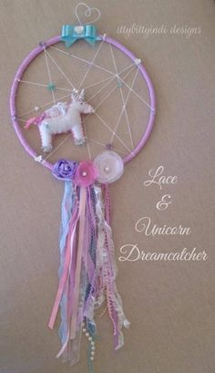 Lace & Unicorn Dream Catcher -   Darling and dreamy, fit for a princess ! handmade by www.facebook.com/ittybittyindidesigns