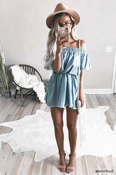 Off-the-Shoulder Denim Dress
