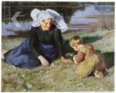 Mother and Child On the Grass....Wilhelmina Douglas de Koning-Hawley