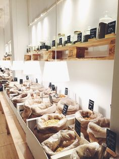 Beautiful bulk foods store in Madrid for zero waste, plastic-free grocery shopping in containers brought from home