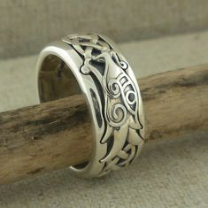 Sterling Silver Dragon & Celtic Knot Ring with Oxidized Background by Keith Jack Celtic Dragon Viking Ring Norse Forge Black CZ Irish Wedding Rings, Wedding Ring Bands, Celtic Dragon, Celtic Art, Celtic Knot Ring, Layered Necklaces Silver, Silver Bracelets, Cuff Bracelets, Vintage Art Deco Rings