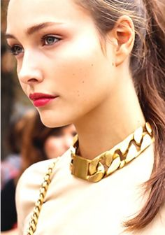Celebrity Style ID Chain Chocker Necklace Rose Gold