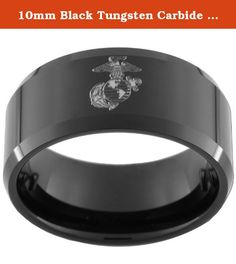 10mm Black Tungsten Carbide Ring with One(1) USMC Marine Eagle Globe & Anchor Image Size 9. This Exclusive Black Tungsten Carbide Ring Is 10mm wide Bevel with One(1) USMC Marine Eagle Globe & Anchor Lasered Image and an Ultra-Bright finish. We recommend visiting more than one jewelry store to measure your finger. Your local mall is a great place to go (it is a free service). Because printable and plastic ring finger sizers can be inaccurate we recommend that you do not use them to size…
