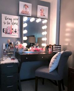 My dream beauty room planner for 2018 and makeup collection Girls Bedroom, Room Decor Bedroom, Bedroom Ideas, Bedrooms, Makeup Room Decor, Makeup Rooms, Vanity Room, Vanity Area, Cute Room Decor