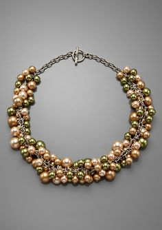 Demoiselle Bubbly Necklace in Green, Gold and Peach mix - perfect for bridesmaids or holiday fun! Great discount on Ideeli right now!