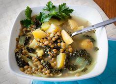 kale, potato, lentil soup
