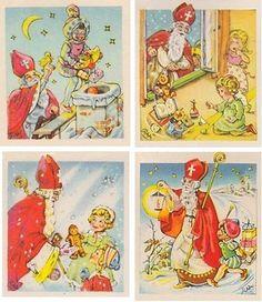 4 Sinterklaaskaartjes, Groeten van St Nicolaas