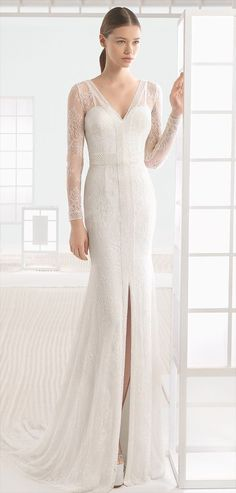 Beaded lace column dress with V-neck, V-back and front opening, in natural.