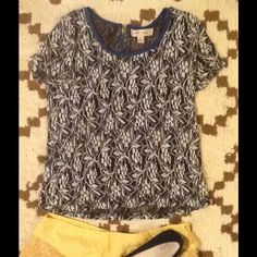 3/$10 Monteau lace crop tee Super cute over another shirt or bralette. Slightly cropped, zip on back.  Size med but also ok for small.  Ask me about bundle deals! Anthropologie Tops Tees - Short Sleeve