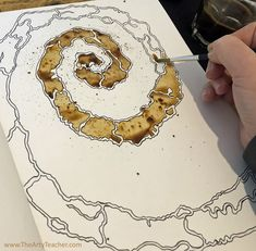 Abstract Coffee Art - Home Learning Activity - The Arty Teacher Coffee art is a great activity to do at home. Especially if you don't have any paint. This coffee art is inspired by looking at tree bark. Virtual Art, School Art Projects, Arty, Art Sketchbook, Coffee Art, Online Art, Art, Art Journal