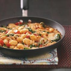 Gnocchi with white beans recipe- healthy dinner; Can omit the cheese to make vegan, or use Daiya vegan cheeses. Or use the cheeses to make a delicious vegetarian dish. This is yummy! Healthy Cooking, Cooking Tips, Cooking Recipes, Healthy Eating, Pasta Dishes, Food Dishes, Food Food, Main Dishes, White Bean Recipes