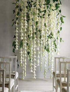 As a chandelier or ceremony marker, cascading strands of Easter lilies look like living wedding bells. DIY wedding ideas and tips. DIY wedding decor and flowers. Everything a DIY bride needs to have a fabulous wedding on a budget! Wedding Ceremony Backdrop, Ceremony Decorations, Wedding Backdrops, Wedding Ideas, Wedding Garlands, Wedding Aisles, Wedding Ceremonies, Wedding Receptions, Outdoor Ceremony