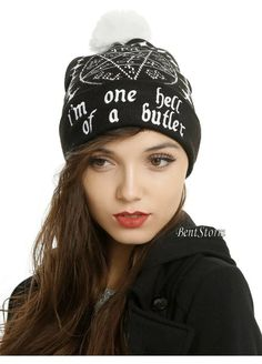 """Black beanie from Black Butler with an """"i'm one hell of a butler"""" Tetragrammaton design. Funky Hats, Cool Hats, Gothic Accessories, Women Accessories, Knit Beanie Hat, Beanies, Black Beanie, Ski Hats, Joker And Harley Quinn"""