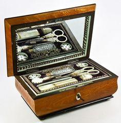1700 Antique French Palais Royal Sewing Box, Tools with Music Box
