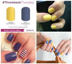 <3 Jam of the Day <3 It's Throwback Thursday time again - 2 designs back from the Jamberry retirement home for you to purchase again. Lemon and Navy Quatrefoil are gorgeous teamed together and look super summery BUT they'll be gone by Monday so grab them now!!! #Jamoftheday #wrapoftheday #jamberry #throwbackthursday #TBT