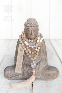 This yoga mala necklace is made with natural sunstone, crystal quartz, shell and silver. Each bead is individually hand knotted. It has an ability to balance mental and physical states, thus increasing happiness and optimism. Lifts depression. Brings good luck, fortune and #dealingwithdepression