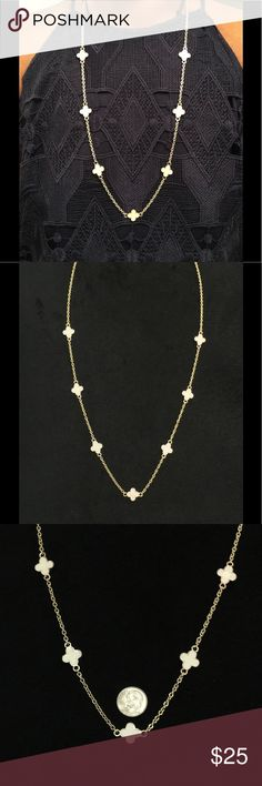 "Van Cleef & Arpels Inspired 4 Leaf Clover Necklace Handmade.   Van Cleef & Arpels Inspired necklace with 7 four leaf clover charms in ivory and framed in gold..  18""-20"" drop or a total length of 46""-40"". bargainzgalore Jewelry Necklaces"