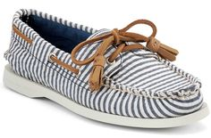 Sperry Womens Boat Shoes Blue Striped Canvas - something blue dancing shoes