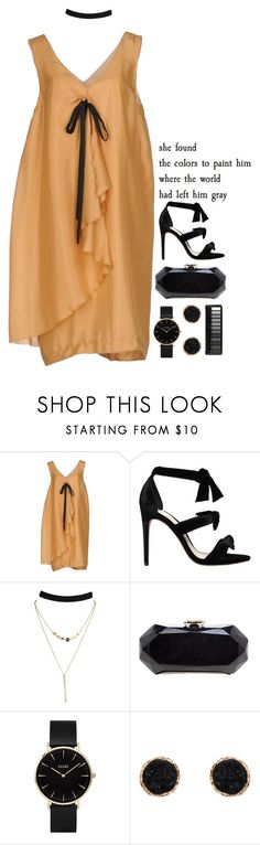"""""""reborn,"""" by renyic ❤ liked on Polyvore featuring L'Autre Chose, Alexandre Birman, Chanel, CLUSE, Humble Chic, yellow, black, orange and afterparty"""