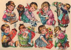 Vintage die cut scraps german sheet Kruger with glitter on, of the 60 Vintage Baby Pictures, Vintage Images, Holly Hobbie, Decoupage Printables, Vintage Illustration Art, Baby Cartoon, Retro Toys, Baby Kind, Vintage Greeting Cards