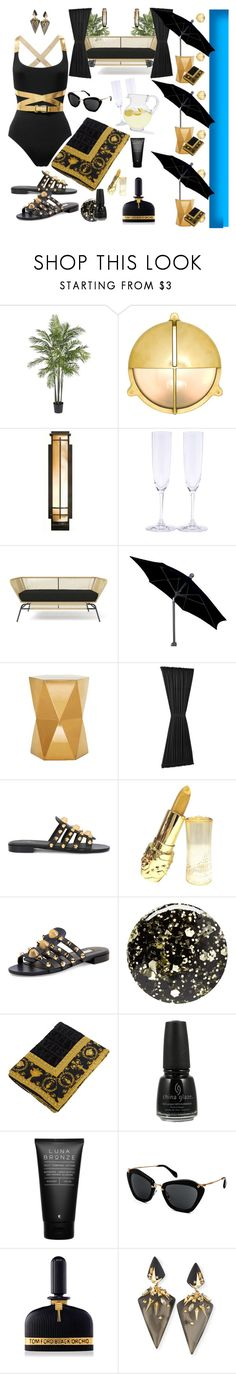 """""""Pool Side"""" by loveleelove ❤ liked on Polyvore featuring Nearly Natural, Davey Lighting, Hubbardton Forge, Riedel, FiberBuilt Umbrellas, Sun Zero, Balenciaga, Nails Inc., Versace and China Glaze"""
