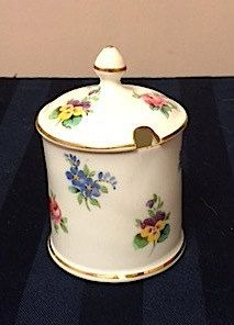 Crown Staffordshire Bone China Mustard pot.  Notched lid.  No spoon Vintage by Cachebuster on Etsy
