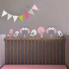 Décalcomanies murales en tissu en forme d'oiseaux et de hiboux de Trendy Peas (TP012) - Rose - Gris