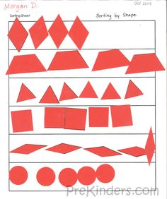 To make the paper shape pieces, I printed paper pattern blocks from the Math Their Way site. I printed them all the same color so that children would be sorting by shape and not by color. Children glued these onto a sorting sheet. Thesare great for saving for portfolios.