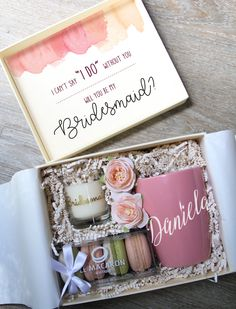 30 Will You Be My Bridesmaid Proposal Gift Ideas The big question was popped—you slid that ring on your finger and popped champagne to celebrate. Soak it in, then put down your glass because you have a Bridesmaid Gifts From Bride, Bridesmaid Gift Boxes, Bridesmaid Proposal Gifts, Bridesmaid Gifts Will You Be My, Ask Bridesmaids To Be In Wedding, Brides Maid Gifts, Groomsmen Proposal, Bridesmaid Makeup, Bridesmaid Ideas