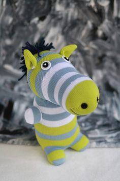 Handmade Sock Zebra Stuffed Animal Doll Baby Toys by Toyapartment, $14.90