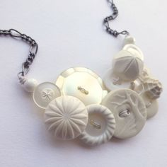 Texture White Winter Vintage Button Jewelry by buttonsoupjewelry, $30.00