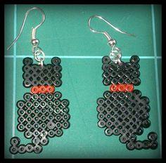 Pendientes gatos Hama beads
