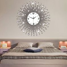 Oversized Luxury Scenic Iron Art Metal Living Room Wall Clock Modern Home Decor #ouku #ModernContemporary