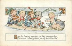 """FANTASTIC vintage New Year card - Friends representing the four seasons and Baby New Year ride on sleds: """"May the fleeting seasons as they come and go, Each their richest gifts on you, my friend, bestow."""""""