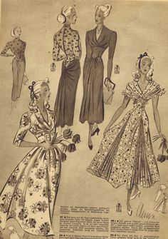 FREE Vintage 1940s Sewing Patterns German Die Alma Mode... Winter 1947 - 1948 | Enjoy These Four Lovely Vintage 40's Dress Patterns