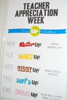 UP Teacher Appreciation Week outline and ideas- so many good ideas! What a great idea - Spirit week for teachers Teacher Appreciation Week Schedule, Teacher Appreciation Luncheon, Up Teacher, Teacher Treats, Teacher Appreciation Gifts, Teacher Gifts, Teacher Stuff, Employee Appreciation, Pta School