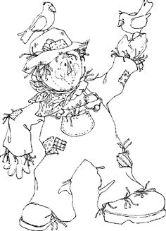 scarecrow coloring page more - Fall Kids Coloring Pages