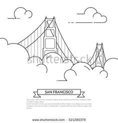 San Francisco banner. City landscape with famous bridge Golden Gate in fog. Vector illustration. Line art. For real estate market, architecture design, property investment, travel agency banner, card