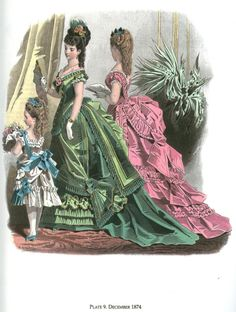 1874 December fashion plate -layers of trims on both gowns, a variety of trims on the green gown