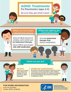 Does your child have ADHD? Preschool-aged children (ages 4-5) should be treated with behavior therapy first, before medication. Talk to your child's doctor to be sure they get what's best!