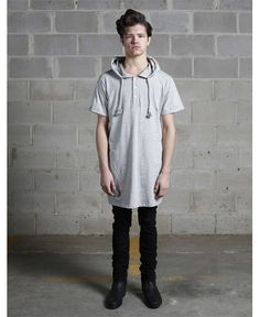 Profound Aesthetic/プロファウンド・エステティック - フーデッドヘンリーネックTシャツ (ヘザー・グレー) Hooded Henly Neck T shirt Heather Grey - ファッション通販セレクトショップ SIAMESE/サイアミーズ