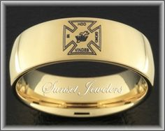 Freemason Tungsten Ring Plated with 18kt Yellow Gold.  Outside engraved with Masonic emblem.  FREE inside engraving! Sunsetjewelers.com