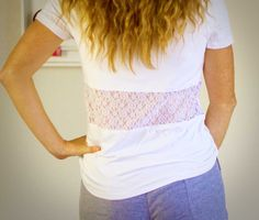 Customize a basic t-shirt by adding lace to dress it up. Click in for an easy-to-follow tutorial on how to add a shear panel to the back of a white tee using simple sewing techniques.