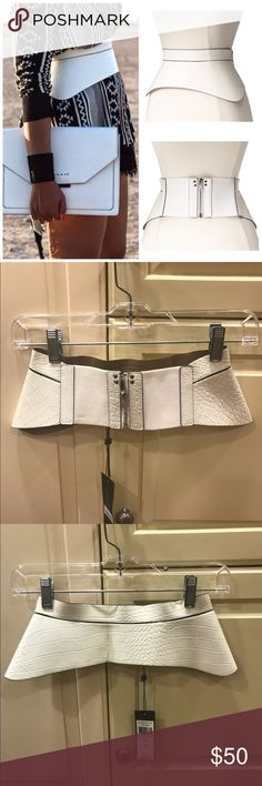 BCBGMAXAZRIA White Zip Corset Waist Cincher Belt NEVER WORN NWT BCBGMAXAZRIA Every Woman Needs A Great Cincher Belt! It can change the look of an outfit, expand a closet, and enhance the waistline. The wide stretch belt emphasize the waistline and instantly makes the outfit look more polished. And, this belt looks great with so many different dresses or tops. Set your look apart with the peplum design. Made of crocodile-embossed faux leather. Zip closure with elastic panels. :: Last two…