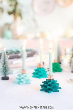 Diy Fimo, Polymer Clay, Ard Buffet, Diy Weihnachten, Cool Diy Projects, Xmas, Christmas, Candlesticks, Birthday Candles