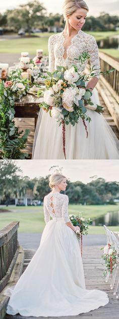 white lace long wedding dress, 2017 long wedding dress, half sleeves wedding dress, bridal gown