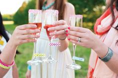 washi tape drink flags on champagne glasses at bridal shower Wedding Favors And Gifts, Champagne Party, Pink Champagne, Champagne Glasses, Shower Party, Bridal Shower, Diy Party Crafts, Wedding Advice, Wedding Ideas