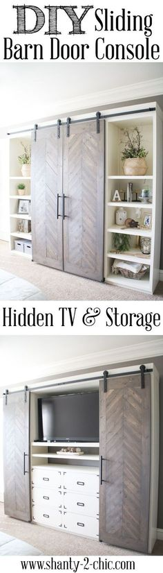 Build this Sliding Barn Door Console! It's perfect for any room! Hide your TV and add tons of storage! Free plans and tutorial at www.shanty-2-chic.com/: http://www.shanty-2-chic.com//2016/11/sliding-barn-door-media-console.html?utm_content=buffer26598&utm_medium=social&utm_source=pinterest.com&utm_campaign=buffer